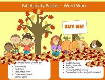 Fall Season - 20 words packet - 20 activities of word work