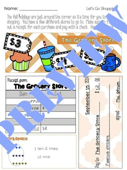 Fall Shopping Activity  - Forms of Numbers and Addition
