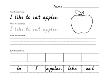 Fall Sight Word Sentence SAMPLE