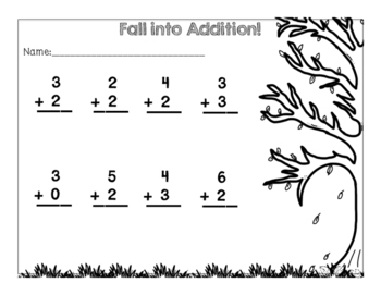 Fall Simple Addition Pages {Freebie}