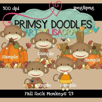 Fall Sock Monkeys 300 dpi Clipart