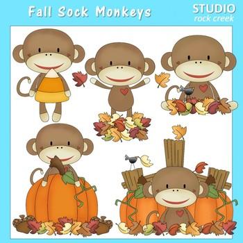 Fall Sock Monkeys Clip Art Color  personal & comm use Prim
