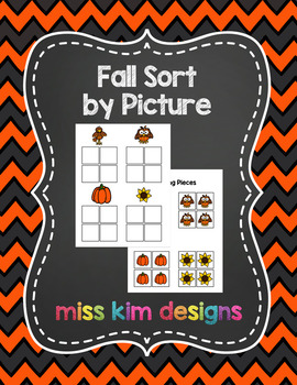 Fall Sort by Picture File Folder Game for Early Childhood