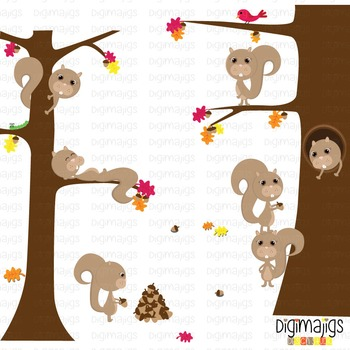 Fall Squirrels Clipart, Autumn Graphics, Acorn Clipart, Fa