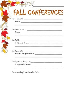 Fall Student Led Conference