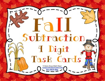 Fall Subtraction (4 Digit) Task Cards