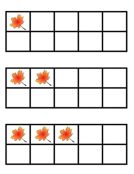 Ten Frame Flash Cards Fall Leaves