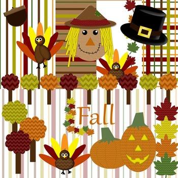 Fall Thanksgiving Clip Art and Digital Paper Set