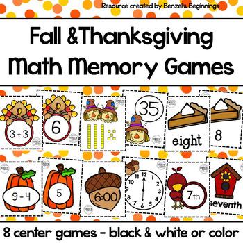 Fall & Thanksgiving Math Matching Centers