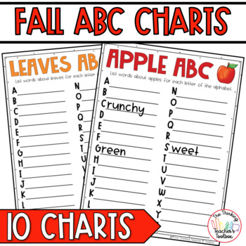 Fall Thematic ABC Charts - Pumpkins, Leaves, Thanksgiving,