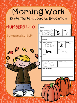 Fall Theme Morning Work; Kindergarten; Special Education;