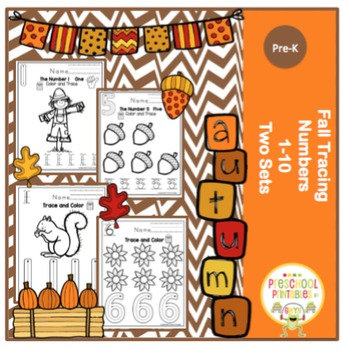 Fall Theme Number Practice 1-10 (2 Sets)