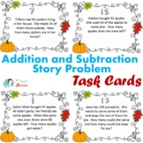 Fall Themed Addition and Subtraction Word Problem Task Car