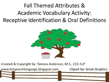 Fall Themed Attributes & Academic Vocabulary:Identificatio