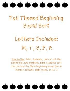 Fall Themed Beginning Sound Sort
