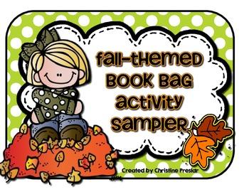 {Freebie} Fall-Themed Book Bag Activity Sampler Pack