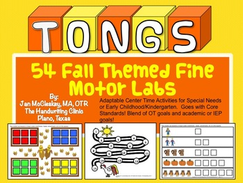 Fine Motor Fall Themed TONGS Skills Labs for Centers or Therapy