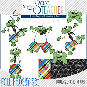 Fall Themed Froggy Clipart Set