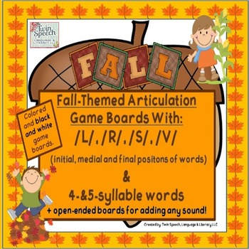 Fall-Themed Game Boards With /L/, /S/, /R/, /V/ + 4 & 5 Sy