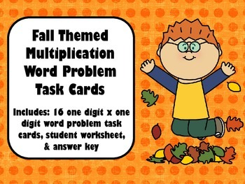 Fall Themed Multiplication (1 digit x 1 digit) Word Proble
