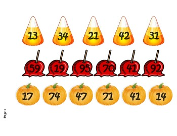 Fall Themed Ordering Numbers Math Station