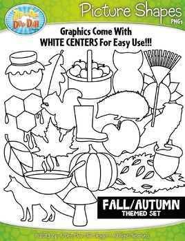 Fall Themed Picture Shapes Clipart Set — Includes 20 Graphics!