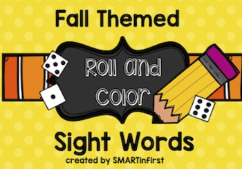 Fall Themed Roll and Color Sight Words