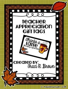 Fall Themed Teacher Appreciation Gift Tags (Thanks a Latte)