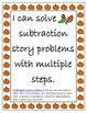 Fall Themed Three Digit Subtraction Story Problems w Regro