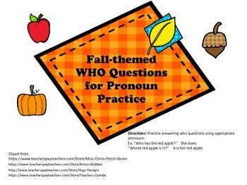 Fall-Themed Who Questions for Pronoun Practice