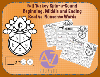 Fall Turkey Spin-a-Sound Beginning, Middle, and Ending Sou