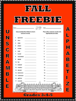 Fall Unscramble and Alphabetize Printable **Freebie**