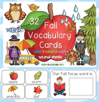 Fall Vocabulary Cards and Centers