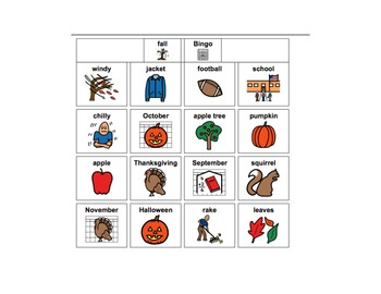 Fall Vocabulary Games: Bingo and Memory