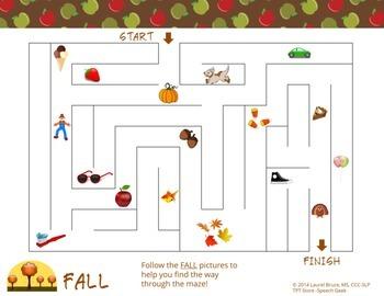 Fall Vocabulary Maze