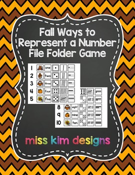 Fall Ways to Represent A Number File Folder Game for stude