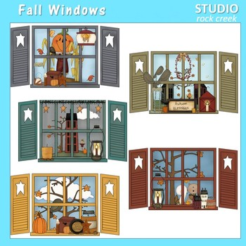 Fall Windows Clip Art Color  personal & comm use Primsy Resale