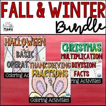 Fall & Winter Holiday Math Color by Numbers- Third Grade