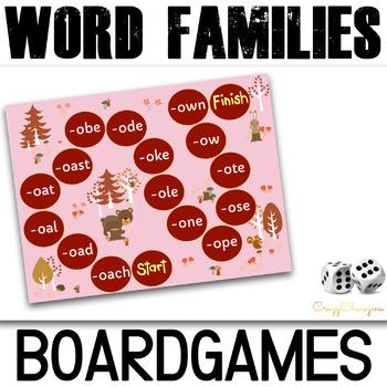 Word Families Board Games (Long A,E,U,O,I)