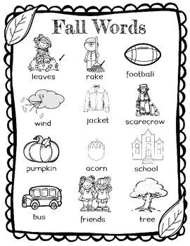 Fall Word Wall for Daily 5 Writing Portfolios / Journals /