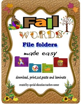 Fall Words File Folder and Worksheets