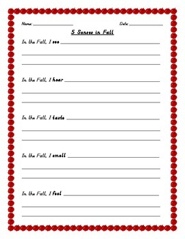 Fall Writing - 5 Senses