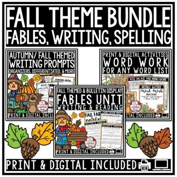 Fall Writing Prompts & Fall Word Work • Fall Centers • Fal
