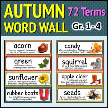 Fall and Autumn Word Wall - 72 Terms with Meaningful Photo