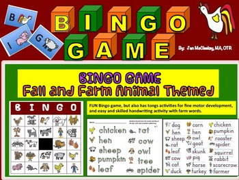 Fine Motor Fall and Farm Bingo Game Kit with handwriting activity