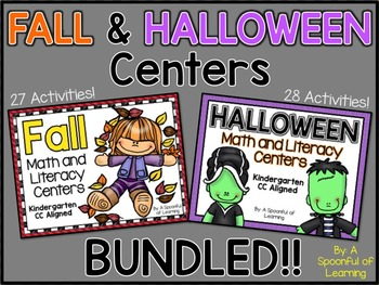 Fall and Halloween Centers BUNDLED! Math and Literacy Alig