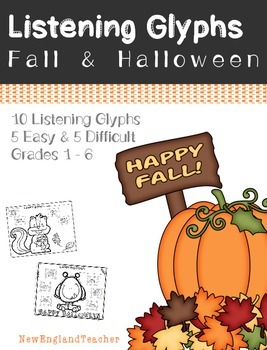 Fall and Halloween Theme Listening Glyphs for Elementary M