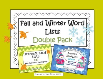 Fall and Winter Word Lists Double Pack