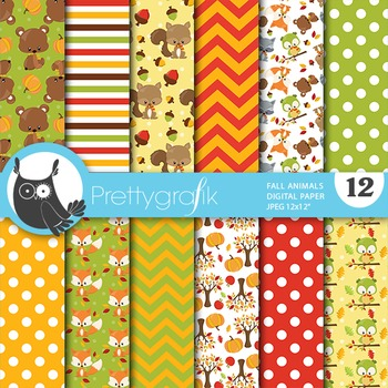 Fall animals papers, commercial use, scrapbook papers - PS748