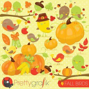 Fall birds clipart commercial use, vector graphics, digita